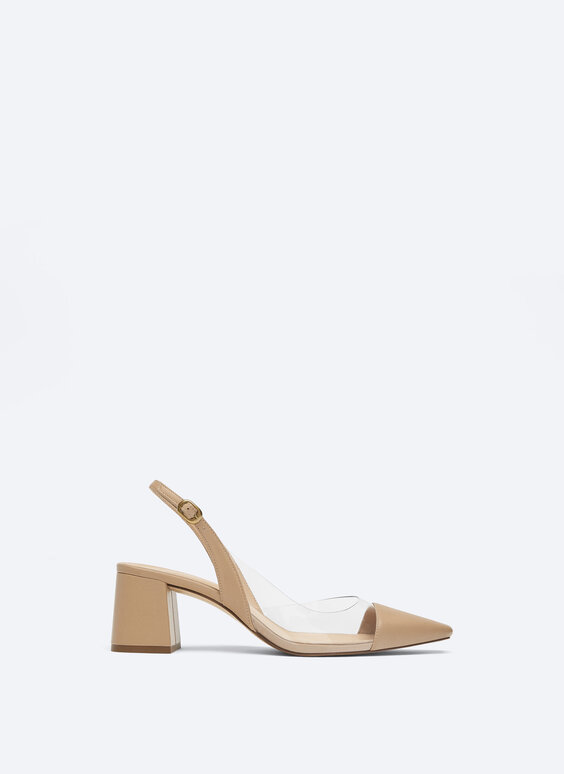 Vinyl slingback shoes with leather toecap