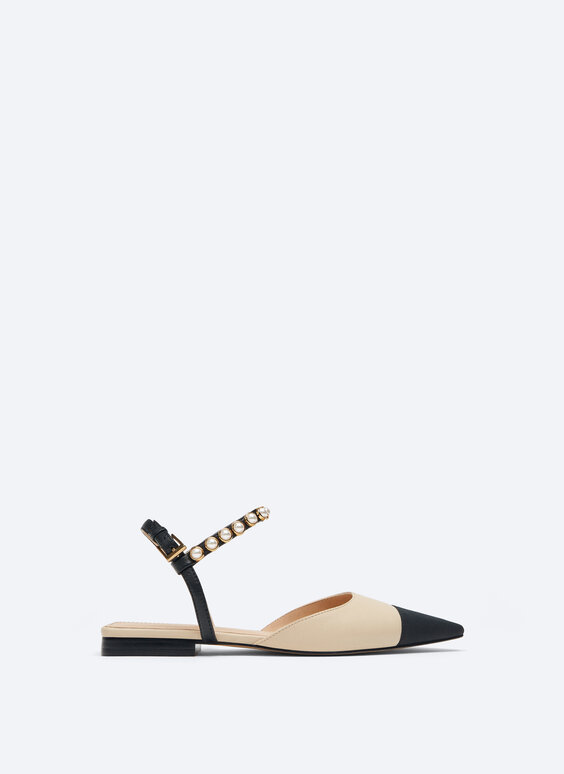 Contrast leather ballerinas with faux pearls