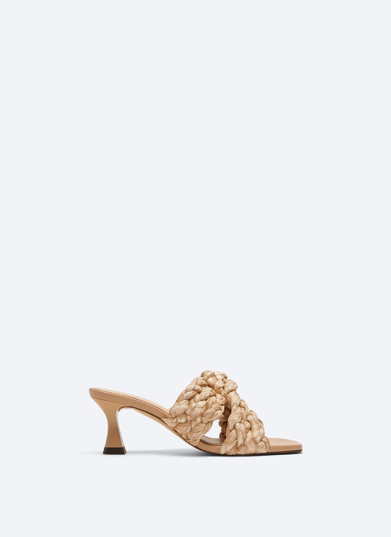 Plaited raffia sandals