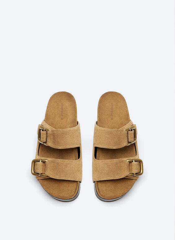 Suede buckled footbed sandals